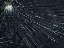 O vidro quebrado A textura das rachaduras branca e preta Fotografia de Stock