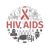 O VIH AJUDA à bandeira Sintomas, tratamento Linha ícones ajustados Ilustração do vetor ilustração stock