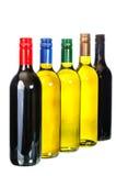 O vinho, ajustou garrafas do vinho Imagem de Stock
