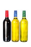 O vinho, ajustou garrafas do vinho Fotografia de Stock
