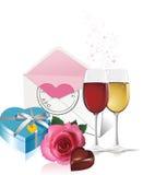 O vinho, caixa de presente e levantou-se. ilustração stock