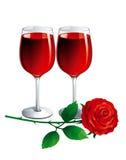 O vinho e levantou-se Fotografia de Stock Royalty Free