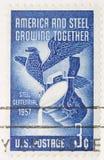 O vintage 1956 cancelou o selo América dos E.U. e o aço Foto de Stock Royalty Free