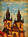 O vintage artístico de Praga denominou o cartão Fotos de Stock Royalty Free