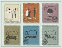 O vintage carimba para seus cartões na tabela verde Imagem de Stock Royalty Free