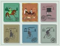 O vintage carimba para seus cartões na tabela verde Imagens de Stock Royalty Free