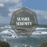 O vintage denominou o cartão com fundo do mar e do céu Imagens de Stock Royalty Free