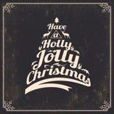 O vintage denominou o cartão de Natal Fotos de Stock Royalty Free