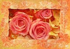 O vintage denominou o frame - rosas Fotografia de Stock