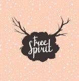O vintage do moderno do espírito livre estilizou a rotulação no fundo cor-de-rosa Imagens de Stock Royalty Free