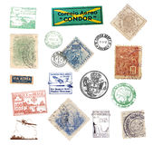 O vintage do porte postal carimba e etiquetas de Brasil Fotografia de Stock