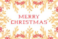 O vintage dourado casa o cartão de Natal com ramos e Rowan do pinho ilustração stock
