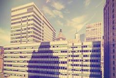 O vintage estilizou a vista de Manhattan, NYC, EUA Foto de Stock Royalty Free