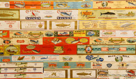 O vintage etiqueta cannneries dos salmões de Oregon Fotos de Stock Royalty Free