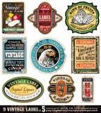 O vintage etiqueta a coleção - jogo 5 Fotos de Stock Royalty Free