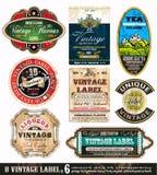 O vintage etiqueta a coleção - jogo 6 Foto de Stock Royalty Free