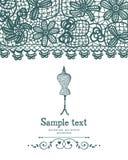 O vintage fazem crochê e o cartão da costura do manequim Imagens de Stock