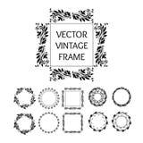 O vintage isolado do vetor quadro a coleção, o círculo, o quadrado e o pentagon Elementos decorativos Foto de Stock Royalty Free