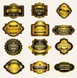 O vintage preto lustroso do ouro e os crachás retros projetam ilustração royalty free