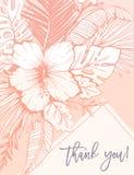 O vintage retro Coral Tropical Floral Exotic Foliage e os hibiscus agradecem-lhe cartão A lápis fundo da tinta do desenho ilustração stock