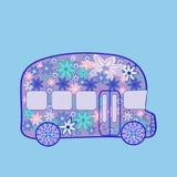 O vintage retro do ônibus floresce o transporte da hippie Imagem de Stock Royalty Free