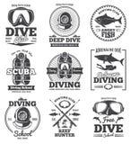 O vintage subaquático do vetor do clube do mergulho autônomo simboliza e etiquetas ilustração stock