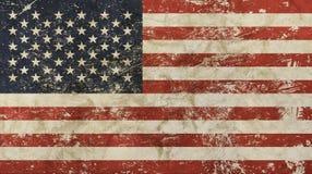 O vintage velho do grunge desvaneceu-se bandeira americana dos E.U. Fotos de Stock Royalty Free