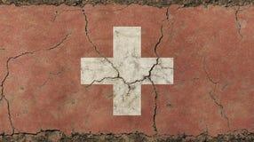 O vintage velho do grunge desvaneceu-se bandeira da confederação suíça Fotografia de Stock Royalty Free