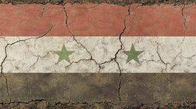 O vintage velho do grunge desvaneceu-se bandeira da república árabe síria Fotos de Stock