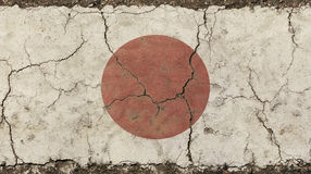 O vintage velho do grunge desvaneceu-se bandeira de Japão Nipônico Imagens de Stock