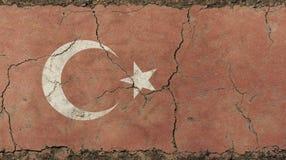 O vintage velho do grunge desvaneceu-se bandeira de República da Turquia Fotos de Stock Royalty Free