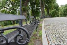 O vintage velho do metal benches com madeira na pintura crua no preto Imagem de Stock