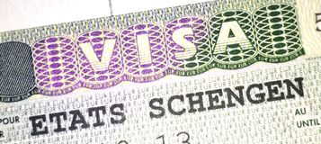 O visto de Schengen para Europa emitiu de França fotos de stock
