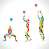 O voleibol do vetor mostra em silhueta a coleção do arco-íris ilustração do vetor