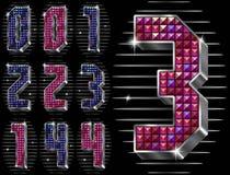 O volume figura 0.1.2.3.4 com rhinestones brilhantes Fotos de Stock