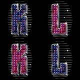 O volume rotula K, L com rhinestones brilhantes Imagens de Stock