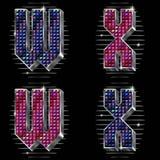 O volume rotula W, X com rhinestones brilhantes Fotos de Stock Royalty Free