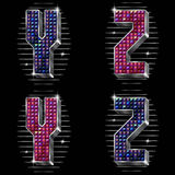 O volume rotula Y, Z com rhinestones brilhantes Imagens de Stock Royalty Free