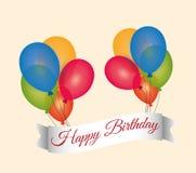 o voo da rotulação do feliz aniversario balloons a bandeira Imagem de Stock