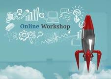 o voo de 3D Rocket e a oficina em linha text com gráficos dos desenhos Imagens de Stock