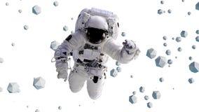 O voo do astronauta entre a ilustração geométrica dos objetos 3d, elementos desta imagem é fornecido pela NASA Fotos de Stock Royalty Free
