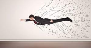 O voo do homem de negócio com a mão tirada alinha sair Fotografia de Stock