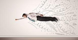 O voo do homem de negócio com a mão tirada alinha sair Imagem de Stock