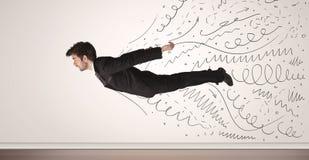 O voo do homem de negócio com a mão tirada alinha sair Foto de Stock Royalty Free
