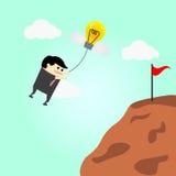 O voo do homem de negócios no ar vai ao sucesso Fotografia de Stock