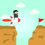 O voo do homem de negócios no ar vai ao sucesso Fotos de Stock Royalty Free