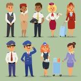 O voo dos oficiais pilota povos do vetor dos aeromoços As comissárias de bordo e os aeromoços dos pilotos isolaram o piloto e o a ilustração royalty free