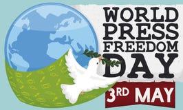 O voo mergulhou promovendo a liberdade de express?o no dia da liberdade de imprensa do mundo, ilustra??o do vetor ilustração do vetor