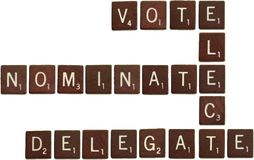 O voto, elege, nomeia, delega telhas do scrabble Foto de Stock Royalty Free