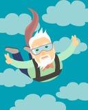 O vovô que salta com um paraquedas Imagem de Stock Royalty Free